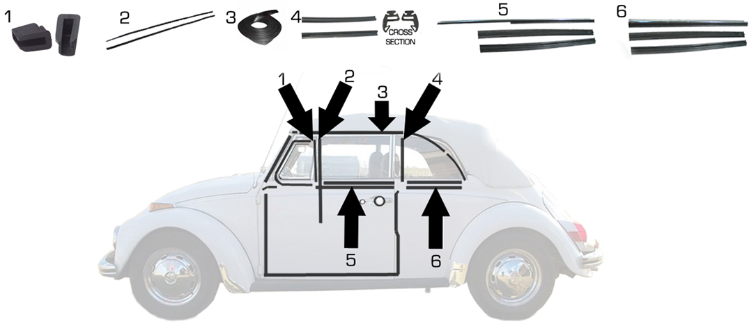 Volkswagen Beetle Door Window Seals Amp Scrapers Convertible