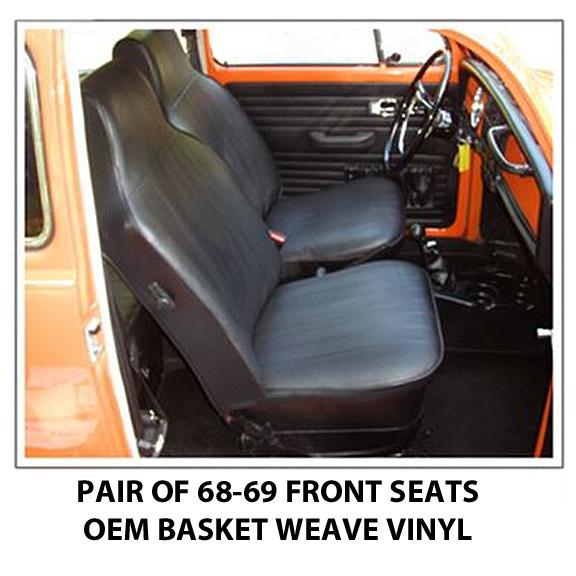 volkswagen beetle front seat covers 1968 69 sedan or convertible oem ebay. Black Bedroom Furniture Sets. Home Design Ideas