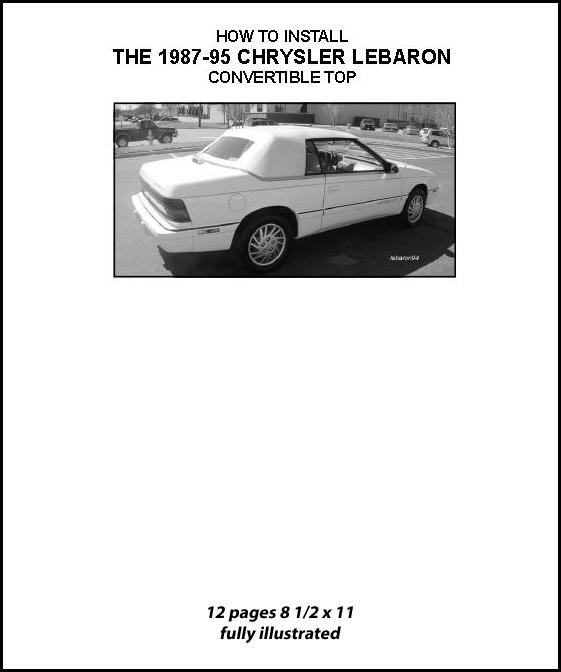 CHRYSLER LEBARON CONVERTIBLE TOP DO-IT-YOURSELF PKG. 1987