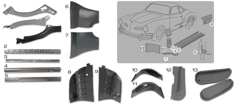 Karmann Ghia Sheet Metal Panels 3