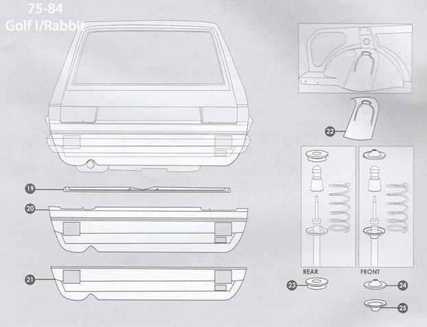 Volkswagen Rabbit Cabriolet Sheet Metal Ii 1975 84 Golf I