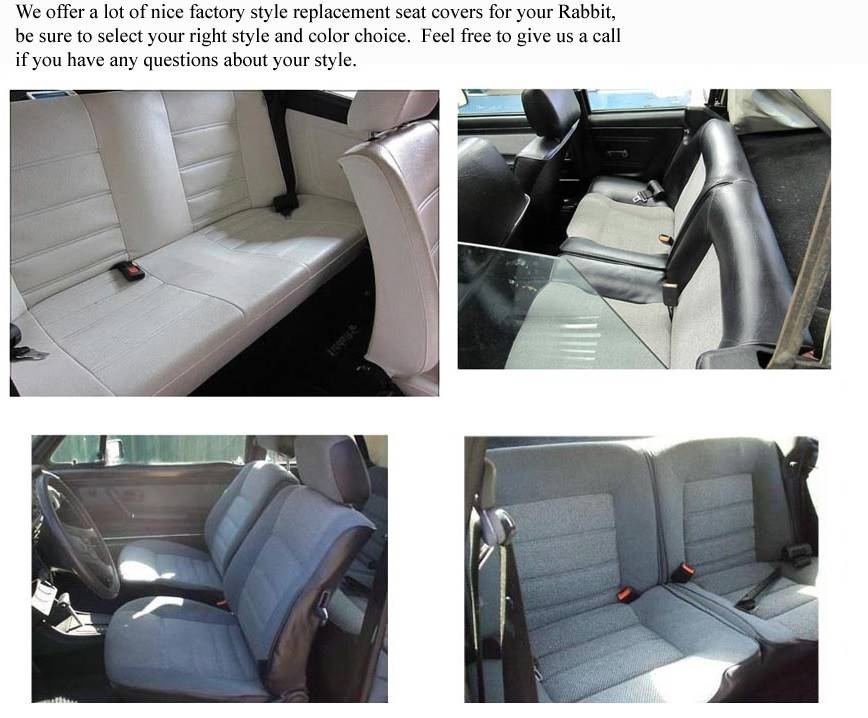 Volkswagen Rabbit/Cabriolet 1985-1993 Seat Covers: Sedans Only: Golf ...