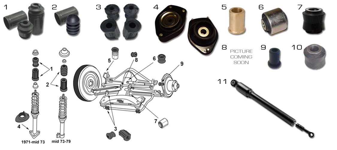 Volkswagen Beetle Suspension Parts Front 71 79 Super Beetle