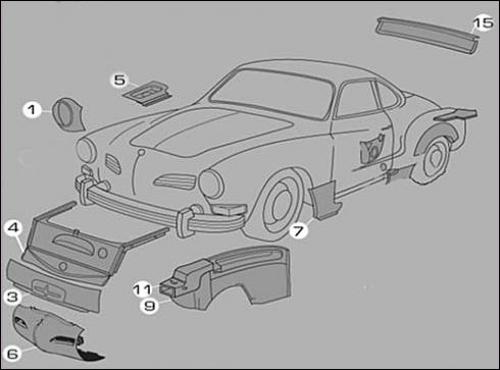 Karmann Ghia Sheet Metal Panels 1 (Body Parts)